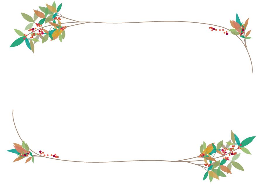 フリーイラスト ナンテンの飾り枠