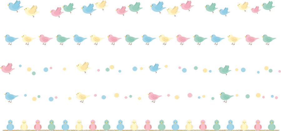 フリーイラスト 5種類のカラフルな小鳥のライン