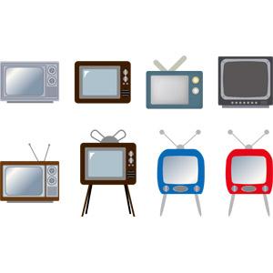 フリーイラスト, ベクター画像, AI, 家電機器, テレビ(TV), ブラウン管テレビ