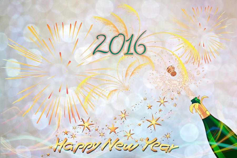 フリーイラスト 2016年の新年のお祝いの背景