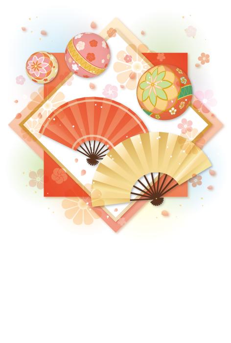 フリーイラスト 扇子と鞠のお正月の和柄背景