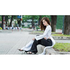 フリー写真, 人物, 女性, アジア人女性, ベトナム人女性, 女性(00113), アオザイ