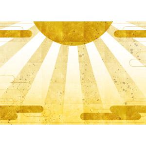 フリーイラスト, 背景, 和柄, 初日の出, 朝日, 日の出, 年中行事, 1月, 正月, 元旦(元日), 金色(ゴールド), 年賀状