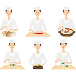 フリーイラスト, ベクター画像, AI, 人物, 男性, 職業, 仕事, コック(シェフ), 板前, 調理, 菜箸, 包丁, まな板, 鍋料理, 土鍋