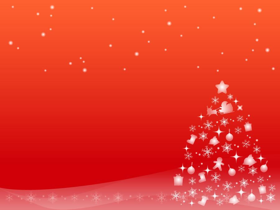 フリーイラスト 雪の結晶のクリスマスツリーと赤色の背景