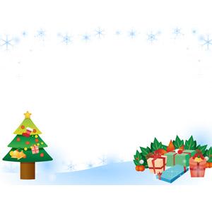フリーイラスト, ベクター画像, AI, 背景, フレーム, 囲みフレーム, 年中行事, クリスマス, 12月, クリスマスツリー, 雪の結晶, 冬, クリスマスプレゼント