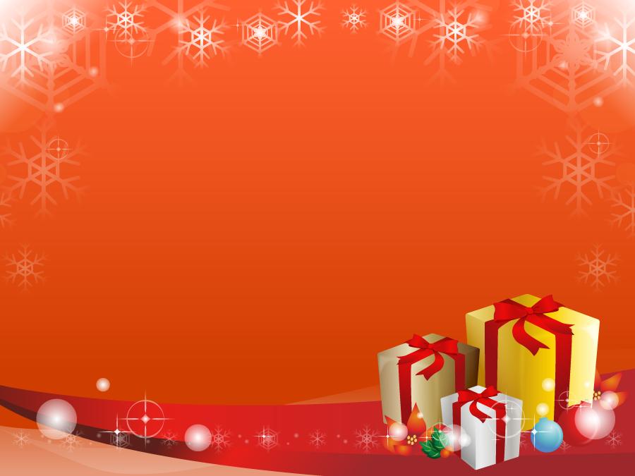 フリーイラスト 雪とクリスマスプレゼントの飾り枠