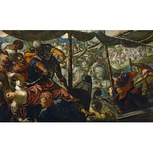 フリー絵画, ティントレット, 物語画, 神話, ギリシア神話, ヘレネ, パリス, 誘拐, 船