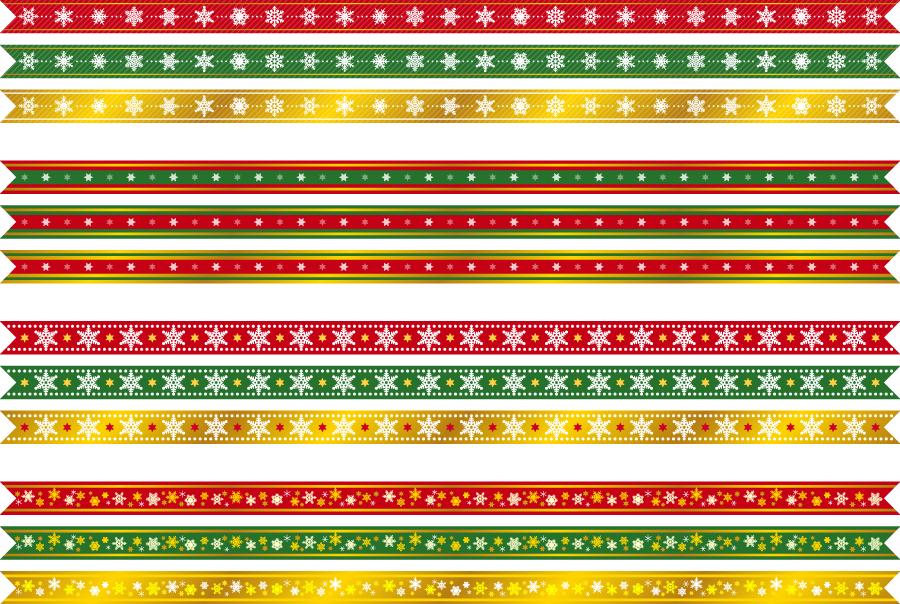 フリーイラスト 12種類のクリスマスリボンのセット