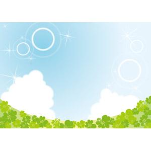 フリーイラスト, ベクター画像, EPS, 風景, 自然, 空, 青空, 植物, 雑草, クローバー(シロツメクサ), 四つ葉のクローバー
