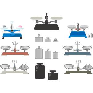 フリーイラスト, ベクター画像, AI, 科学, 実験器具, 計測機器, 天秤ばかり, 上皿天秤, 分銅, 調剤