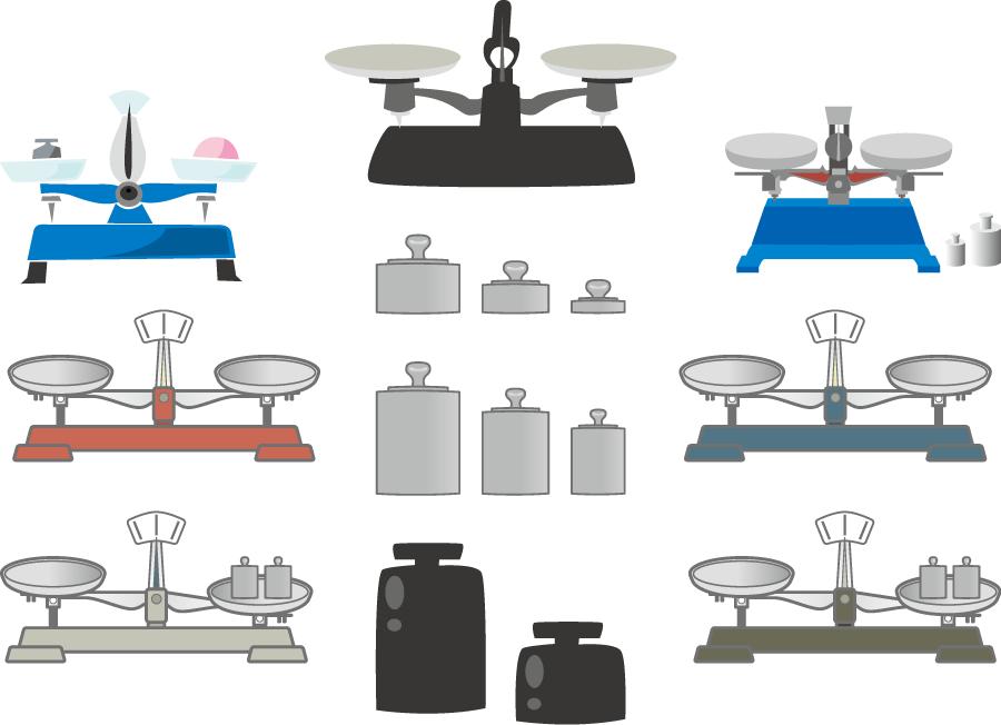 フリーイラスト 10種類の上皿天秤と分銅のセット