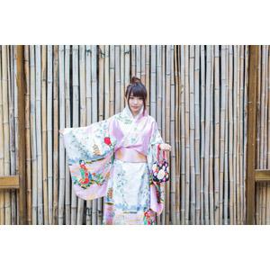 フリー写真, 人物, 女性, アジア人女性, 小花(00096), 中国人, 着物, 和服, 巾着袋