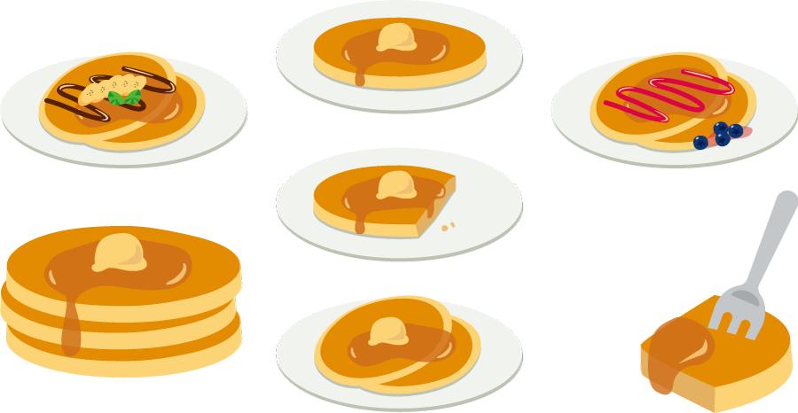 フリーイラスト 7種類のホットケーキのセット