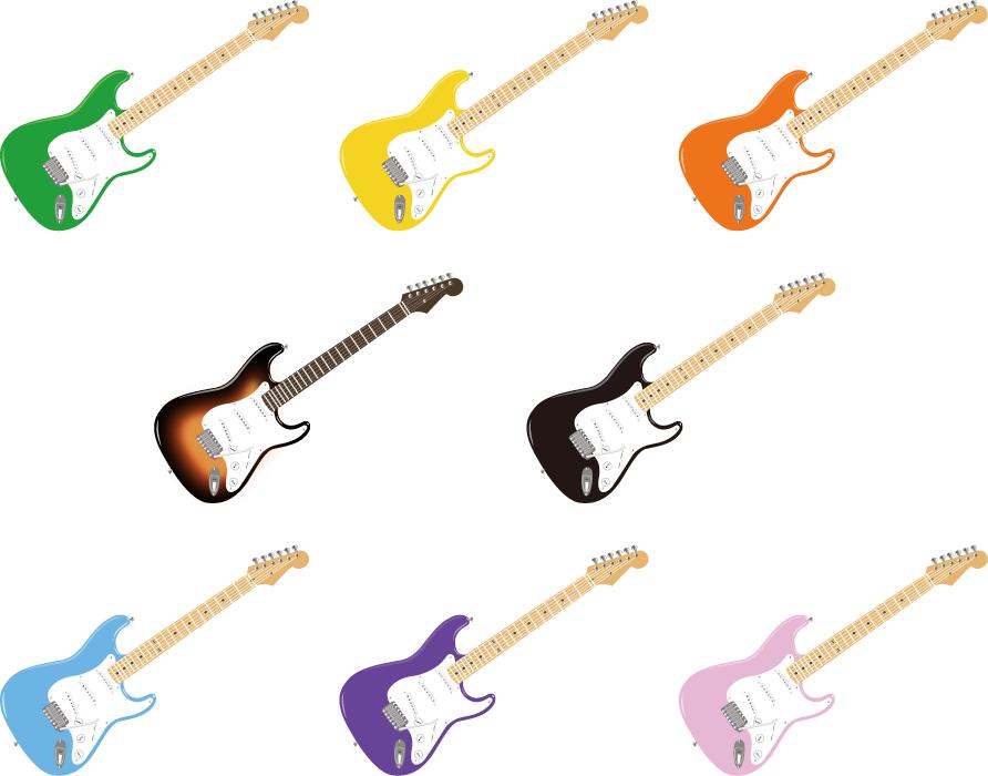 フリーイラスト 8種類のエレキギターのセット