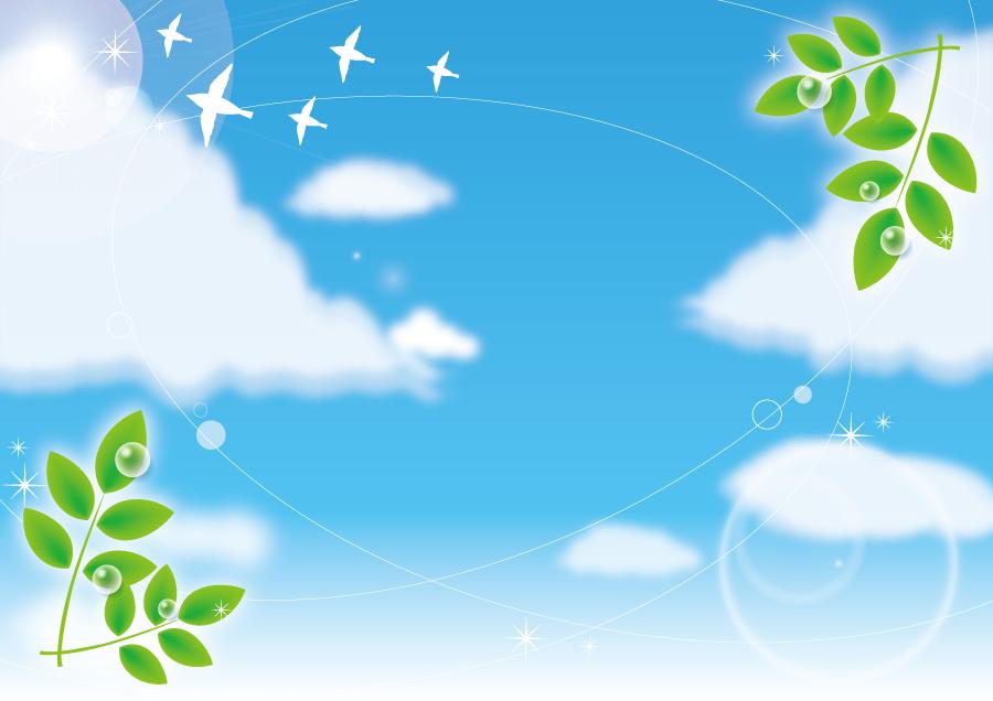 フリーイラスト 新緑と羽ばたく鳥と青空の背景