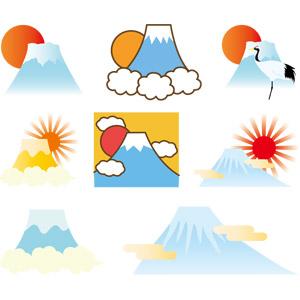 フリーイラスト, ベクター画像, AI, 自然, 山, 富士山, 世界遺産, 日本の風景, 初日の出, 朝日, 日の出, 1月, 正月, 元旦(元日), 鶴(ツル)