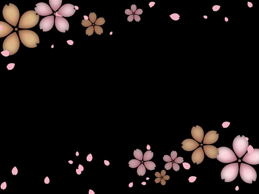 フリーイラスト 桜の花と花びらのフレーム