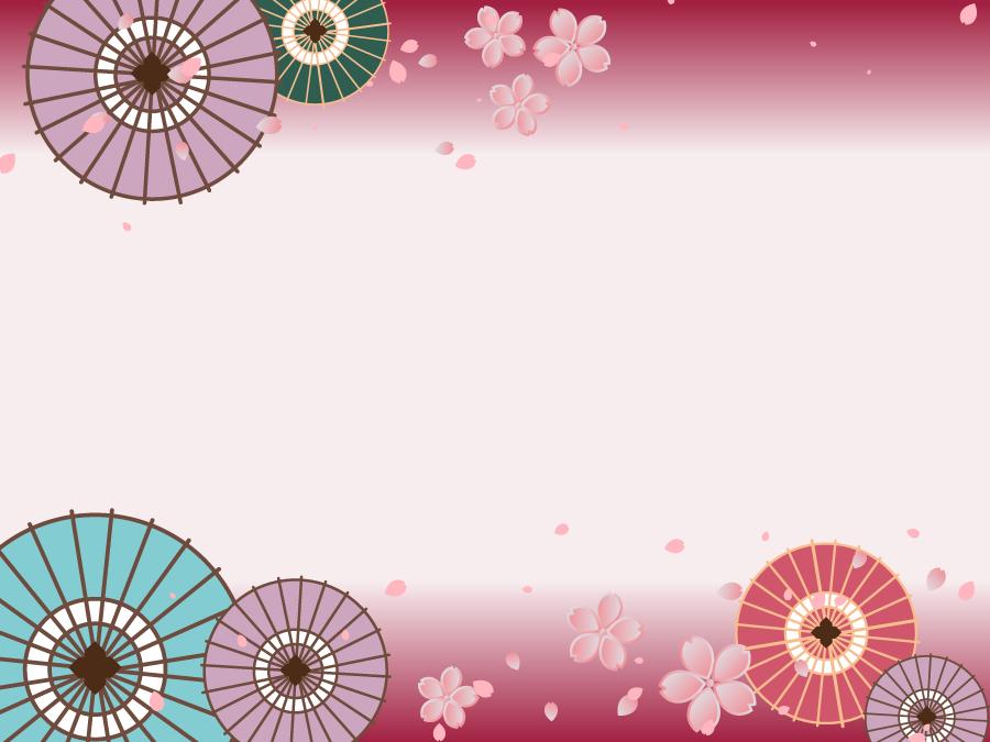 フリーイラスト 和傘と桜の花の飾り枠