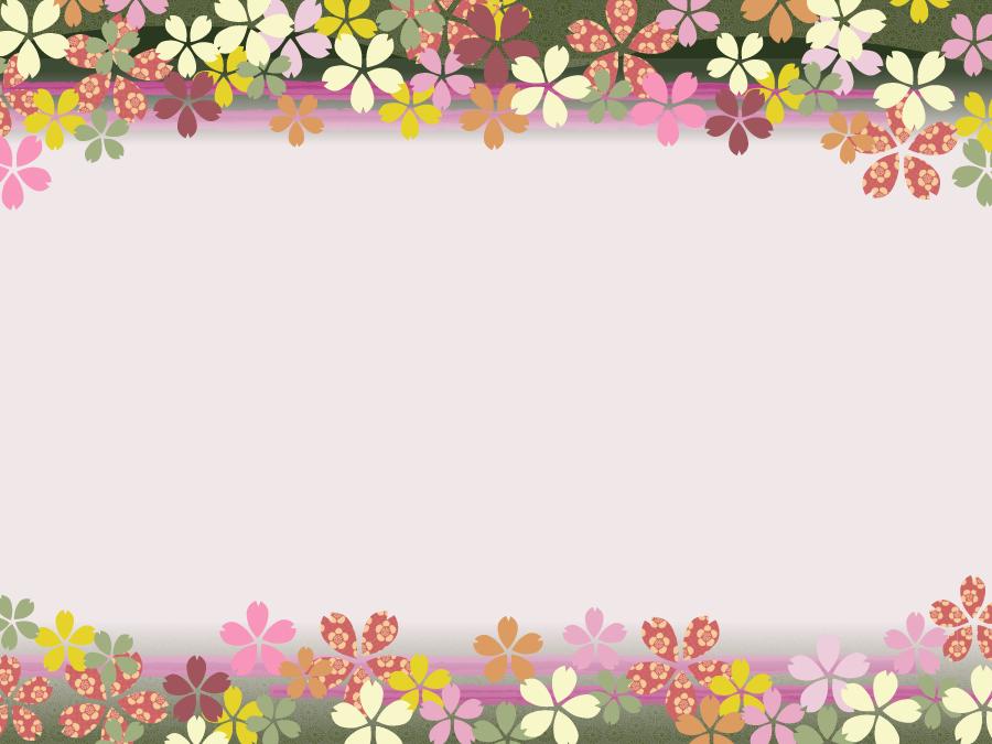フリーイラスト 桜の花柄の飾り枠