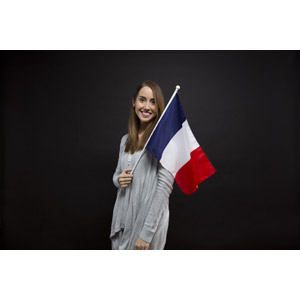 フリー写真, 人物, 女性, 外国人女性, 女性(00070), 国旗, 旗(フラッグ), フランスの国旗
