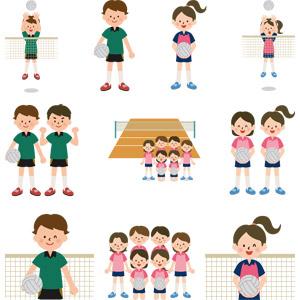 フリーイラスト, ベクター画像, AI, スポーツ, 球技, バレーボール, バレーボール選手, 人物, 少年, 少女, バレーボール, バレーコート, 学生(生徒), 部活動, 学校