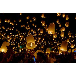 フリー写真, 風景, 年中行事, お祭り, 天灯, コムローイ(コムファイ), タイの風景, 夜, 人込み(人混み)