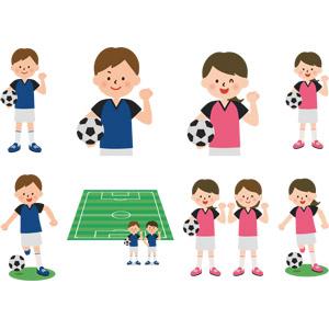 フリーイラスト, ベクター画像, AI, スポーツ, 球技, サッカー, サッカーボール, ガッツポーズ, サッカーフィールド, 人物, 少年, 少女, 学生(生徒), 部活動, 学校, サッカー選手