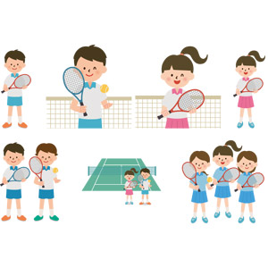 フリーイラスト, ベクター画像, AI, スポーツ, 球技, テニス, テニスラケット, テニスボール, テニスコート, 人物, 少年, 少女, 学生(生徒), 部活動, 学校, テニス選手