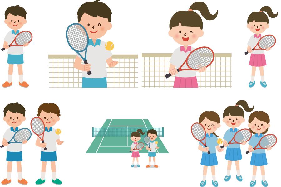 フリーイラスト 7種類のテニス部の男子と女子のセット