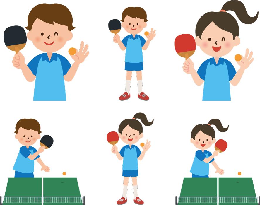フリーイラスト 6種類の卓球部の男子と女子のセット