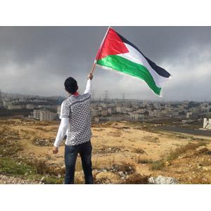 フリー写真, 人物, 男性, 外国人男性, 後ろ姿, 国旗, 旗(フラッグ), パレスチナ自治政府の国旗, パレスチナ自治政府の風景, 街並み(町並み)