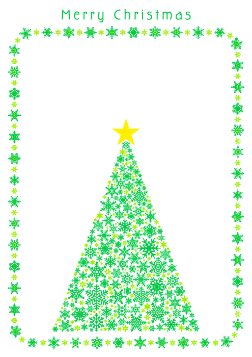 フリーイラスト クリスマスツリーと雪の結晶の飾り枠