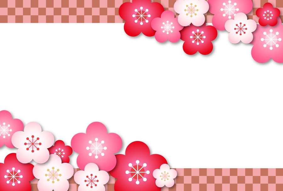 フリーイラスト 梅の花と市松模様の飾り枠