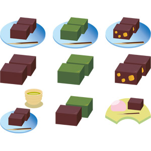 フリーイラスト, ベクター画像, AI, 食べ物(食料), 菓子, 和菓子, 羊羹(ようかん), 抹茶, 栗(クリ)
