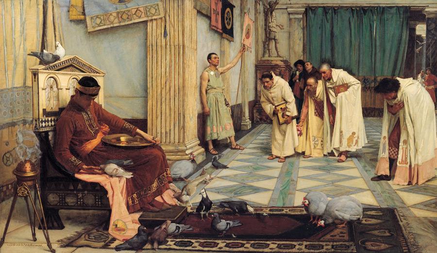 フリー絵画 ジョン・ウィリアム・ウォーターハウス作「ホノリウス帝のお気に入り」