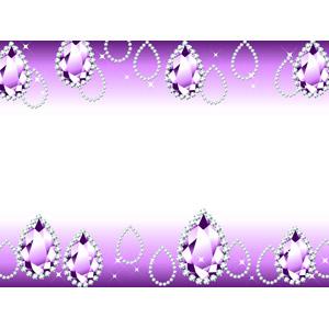 フリーイラスト, ベクター画像, AI, 背景, フレーム, 上下フレーム, 宝石, アメジスト, バイオレットサファイア, 装飾品(アクセサリー), 紫色(パープル)