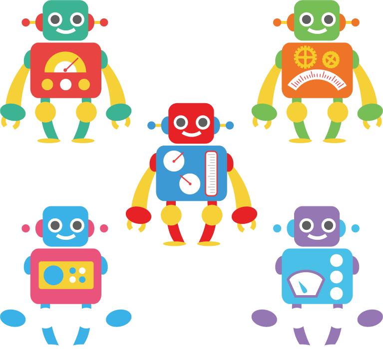 フリーイラスト 5種類のロボットのセット