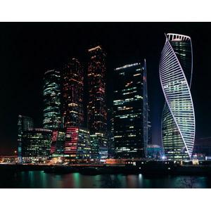 フリー写真, 風景, 建造物, 建築物, 高層ビル, 都市, 街並み(町並み), 夜, 夜景, ロシアの風景, モスクワ