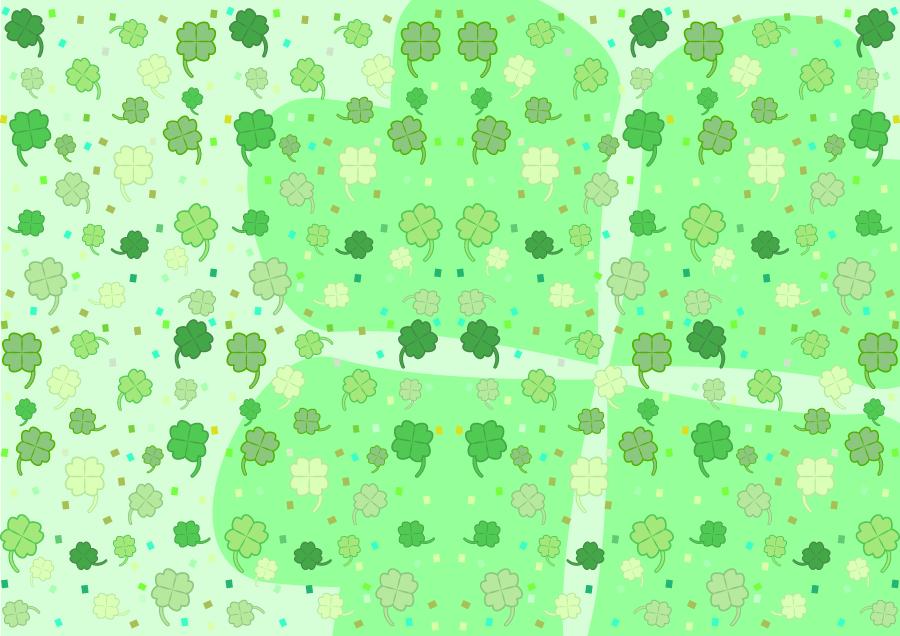 フリーイラスト たくさんの四つ葉のクローバーの背景
