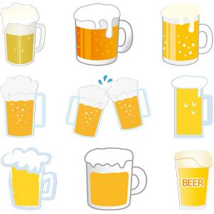 フリーイラスト, ベクター画像, AI, 飲み物(飲料), お酒, ビール, ビールジョッキ, 乾杯
