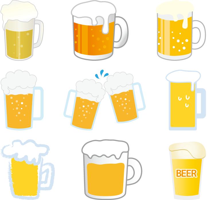 フリーイラスト 9種類の生ビールのセット