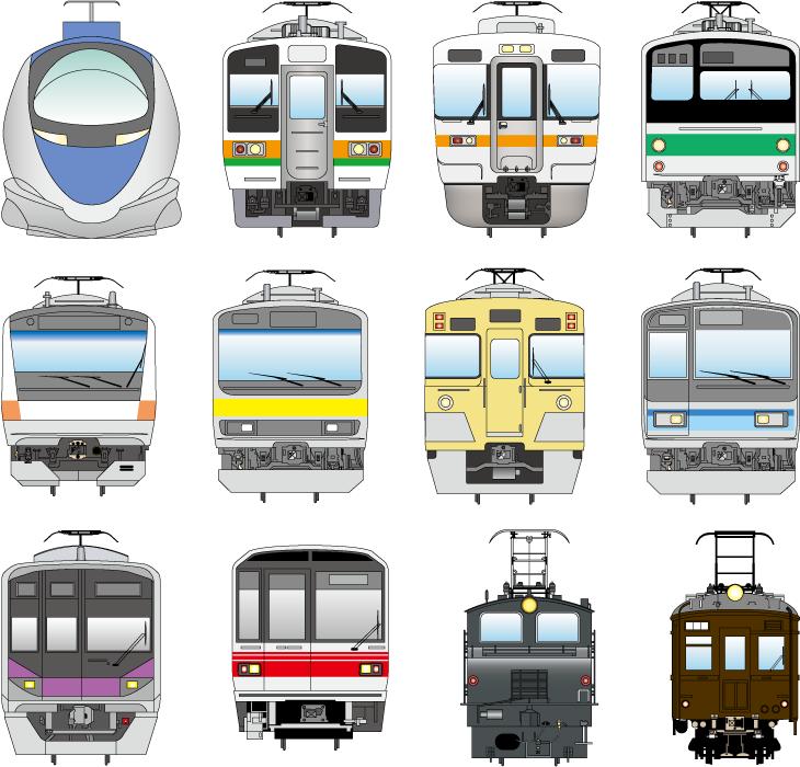 フリーイラスト 12種類の電車のセット