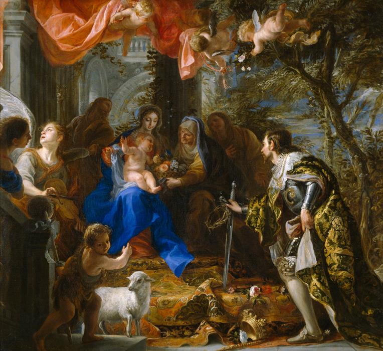 フリー絵画 クラウディオ・コエーリョ作「フランス王聖ルイによって崇拝される聖母子」
