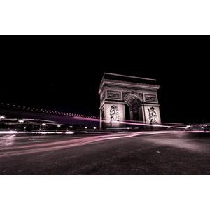 フリー写真, 風景, 建造物, 建築物, エトワール凱旋門, 凱旋門, 門(ゲート), フランスの風景, パリ, 夜, 光線