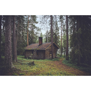 フリー写真, 風景, 建造物, 建築物, 山小屋, 小屋(納屋), 森林, 樹木, フィンランドの風景