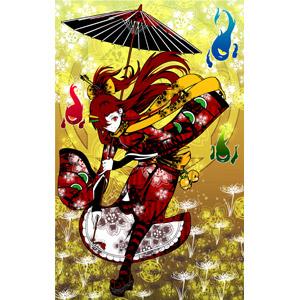 フリーイラスト, 人物, 女性, 少女, 和服, 着物, 和傘