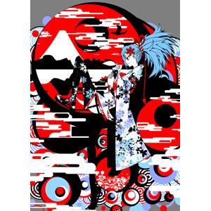 フリーイラスト, 人物, 少女, 和柄, 背景, 和服, 着物, 富士山, 兎(ウサギ)