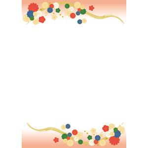 フリーイラスト, ベクター画像, EPS, 背景, フレーム, 上下フレーム, 和柄, 花柄, 菊(キク), 梅(ウメ)