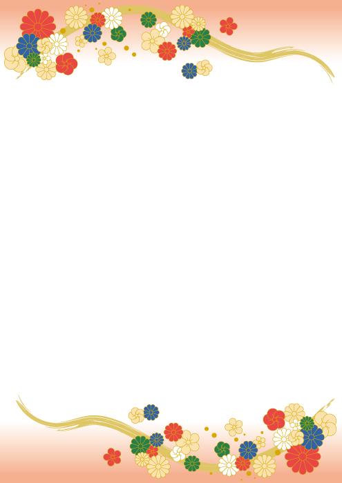 フリーイラスト 菊と梅の花柄の飾り枠
